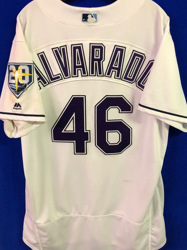 Photo of 20th Anniversary Game Used Devil Rays Jersey: Jose Alvarado (.1IP, 1 SO) March 31 v BOS, June 9 v SEA, June 23 v NYY and September 8 v BAL