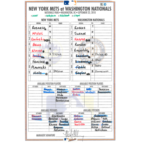 Game Used Lineup Card - Matz Start, McNeil Goes 4-5, Mets Win 8-6 - Mets vs. Nationals - 9/23/18