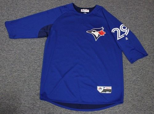 Photo of Authenticated Team Issued Batting Practice Jersey - #29 Devon Travis. Size L.