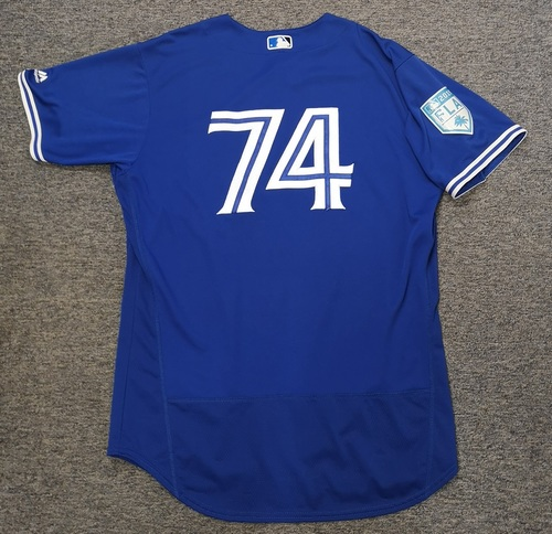 Photo of Authenticated Game Used 2019 Spring Training Jersey - #74 Zach Jackson (Mar 18. Mar 26: 0.2 IP, 0 ER). Size 48