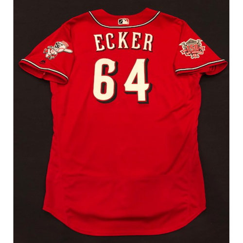 "Photo of Donnie Ecker -- Team-Issued ""Los Rojos"" Jersey -- D-backs vs. Reds on 9/6/19 -- Jersey Size 48"