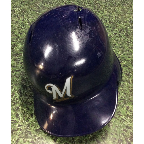 Photo of Jesus Aguilar 2019 Game-Used Batting Helmet
