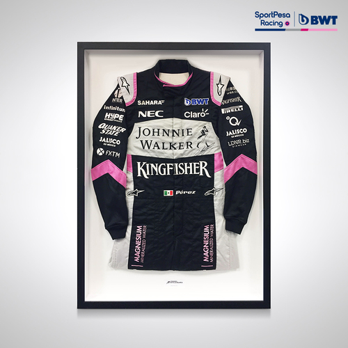 Photo of Sergio Perez 2017 Framed Signed Driver-worn Race Suit
