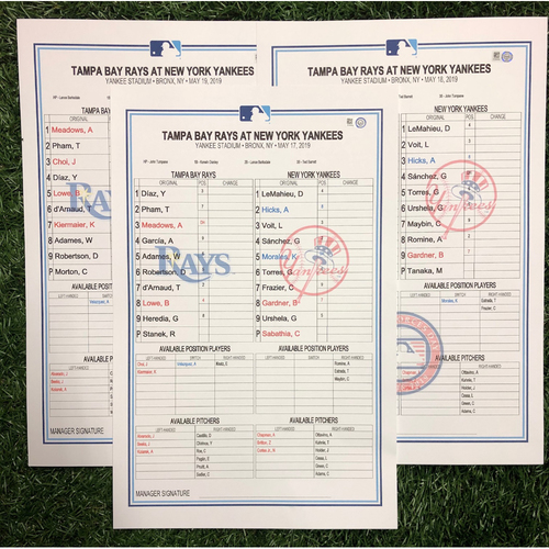Replica LineUp Cards: May 17-19, 2019 at NYY