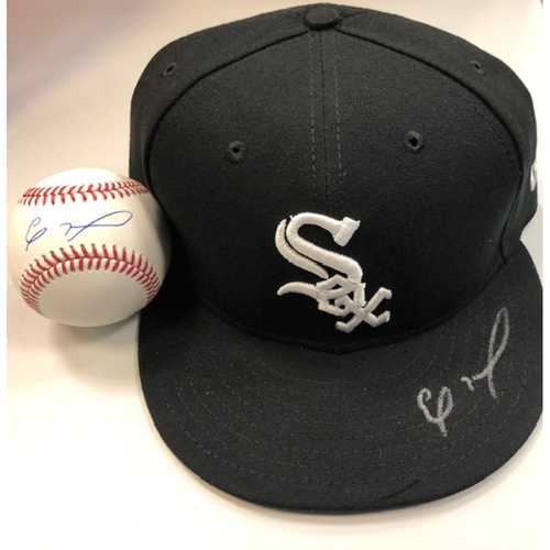 Photo of Eloy Jimenez Autographed Cap and Baseball