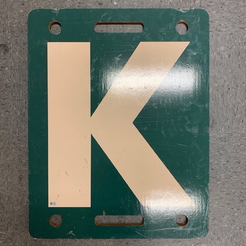Photo of 2019 Game Used K Board used on 6/25 vs. Colorado Rockies - Madison Bumgarner Ties Matt Cain for 5th Most Strikeouts in Franchise History!