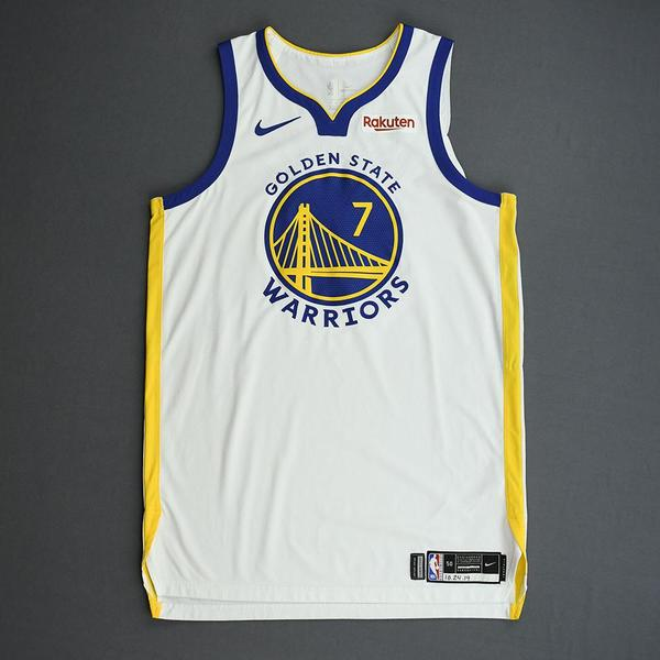 Image of Eric Paschall - Golden State Warriors - Game-Worn Association Edition Rookie Debut Jersey - Opening Night 2019-20 Season