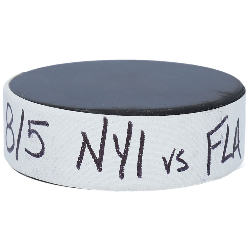 New York Islanders vs. Florida Panthers Practice-Used Puck from Game 3 of the 2020 Qualifying Series on August 5, 2020 - Used During Pregame Warm-Ups
