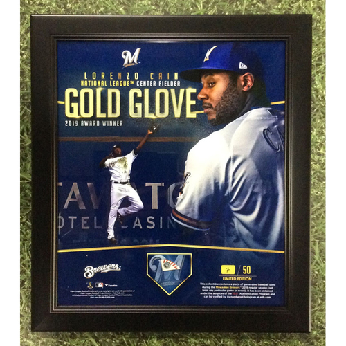 "Photo of Lorenzo Cain 2019 Commemorative ""National League Center Fielder Gold Glove Award Winner"" Framed Piece with Game-Used Baseball Swatch - Limited Edition of 50"