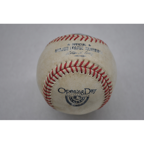 Photo of Game-Used Baseball - 4/9/13 - LAD at SD - Batter - Adrian Gonzalez, Pitcher - Clayton Richard, Top of 4, Pitch in the Dirt - Opening Day