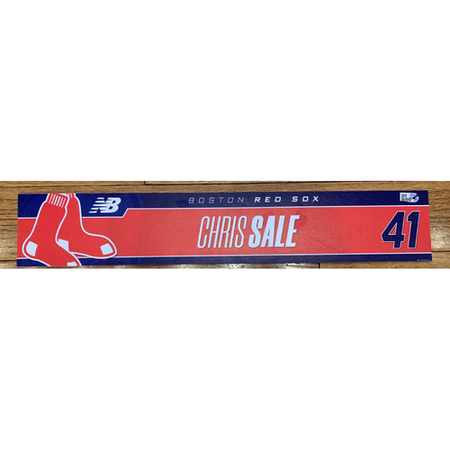 Photo of Chris Sale August 21, 2021 Game Used Locker Tag