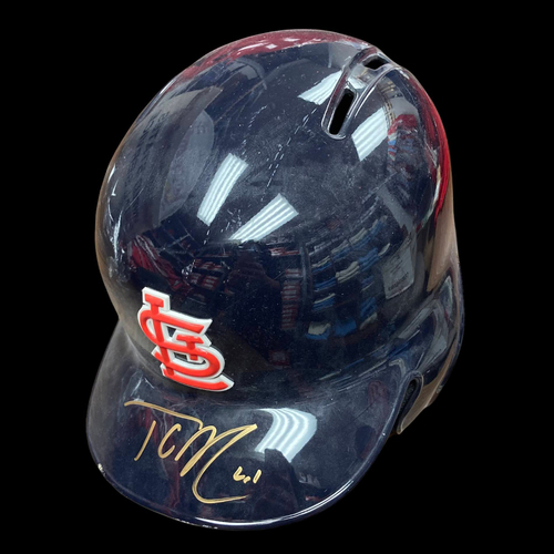 Photo of Tyler O'Neill Autographed Team Issued Navy Batting Helmet (Size 7 1/4)