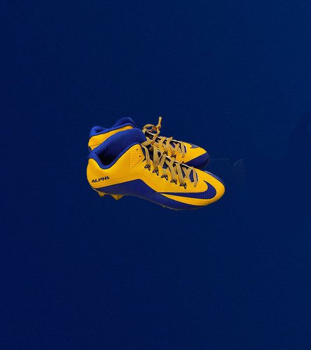 Photo of Royal and Yellow Player Issued Nike Alpha Cleats