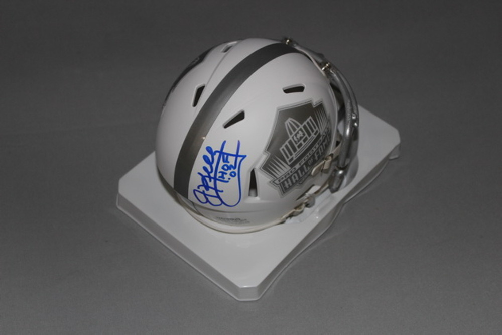 HOF - BILLS JIM KELLY SIGNED HOF LOGO ICE MINI HELMET