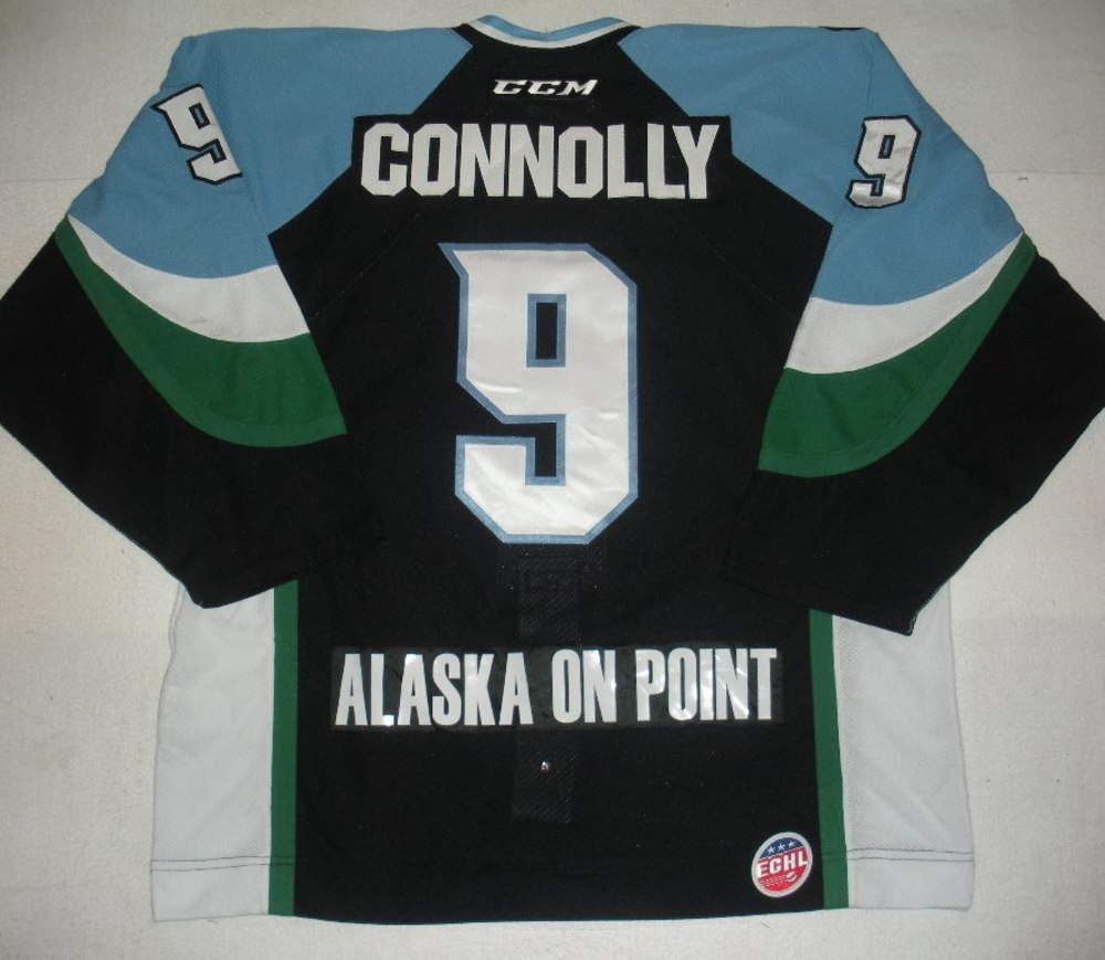 Brendan Connolly - 2014 Kelly Cup Finals - Alaska Aces - Black Game-Worn Jersey - Game 4