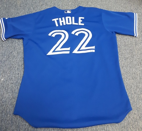 Photo of Authenticated Game Used Jersey - #22 Josh Thole (August 9, 2014). Size 46.