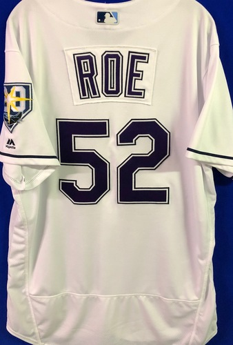 Photo of 20th Anniversary Game Used Devil Rays Jersey: Chaze Roe (3.1. IP, SV, 3 SO) - March 31 v BOS, June 9 v SEA, June 23 v NYY and September 8 v BAL