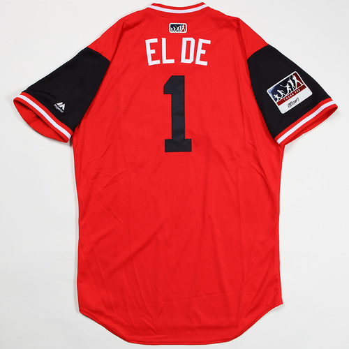 "Photo of Wilmer ""El De"" Difo Washington Nationals Game-Used Jersey 2018 Players' Weekend Jersey"