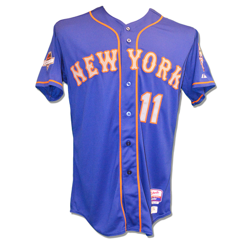 Photo of Ruben Tejada #11 - Team Issued Blue Alt. Road Jersey - 2015 Postseason