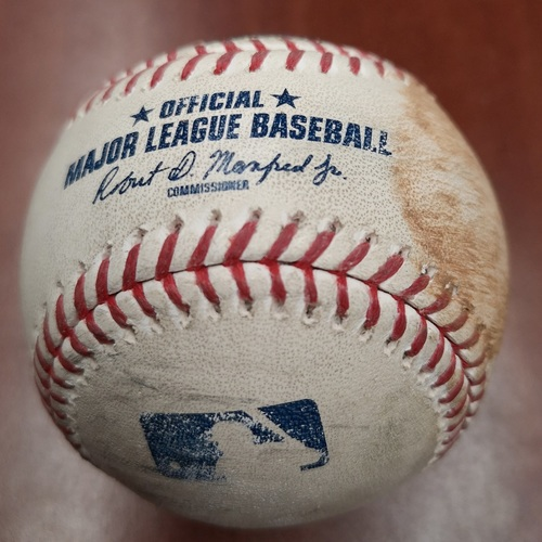Photo of Authenticated Game Used Baseball - Single by Jonathan Lucroy against Aaron Sanchez (June 19, 2019 vs LAA). Top 4.