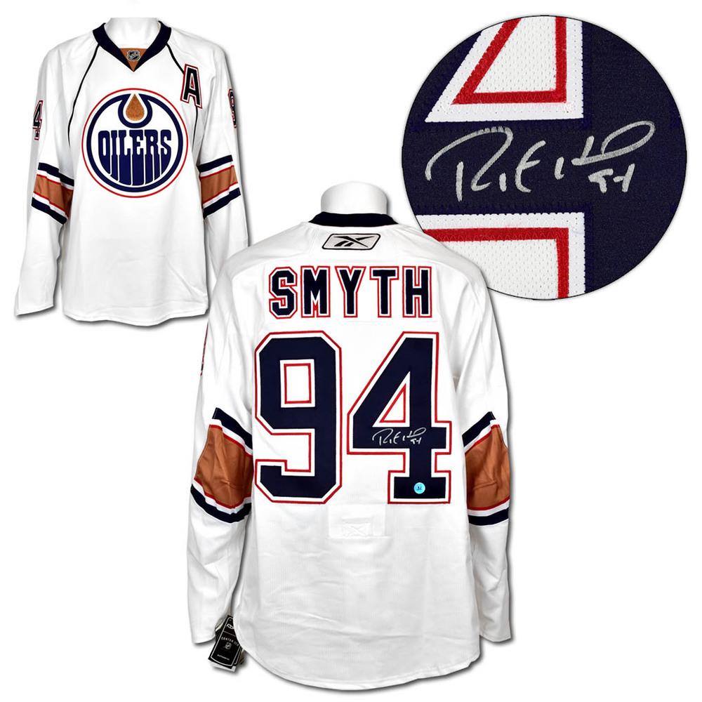 Ryan Smyth Edmonton Oilers Autographed White Reebok Authentic Hockey Jersey