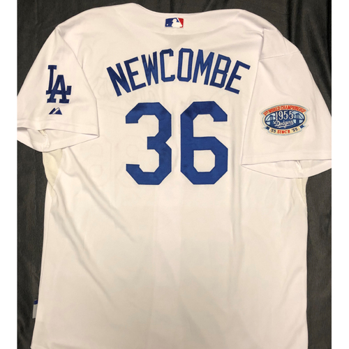 Photo of Don Newcombe 1955 World Series Los Angeles Dodgers Jersey - Size 52