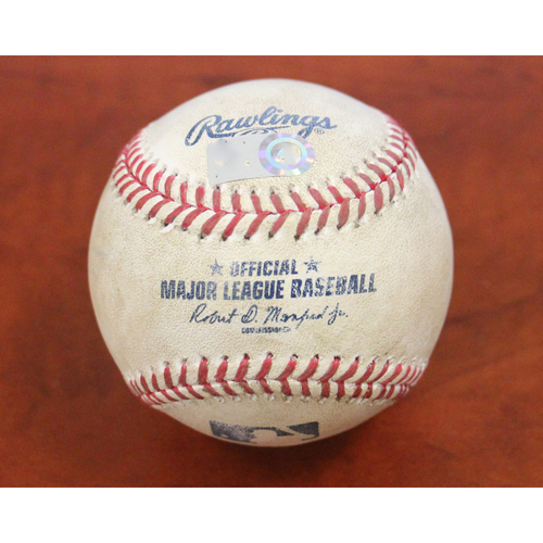 Photo of Game-Used Baseball - Pitcher: Glenn Sparkman | Batters: Matt Olson (2-RBI Double) & Mark Canha (Ball) - Btm 1 - 9/16/19 vs KC