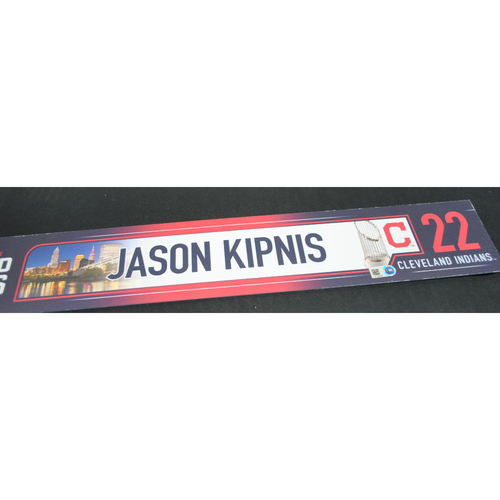 Photo of Game-Used Locker Name Plate - 2016 World Series Games 1, 2, 6, 7 - Cleveland Indians vs. Chicago Cubs - Jason Kipnis (Cleveland Indians)