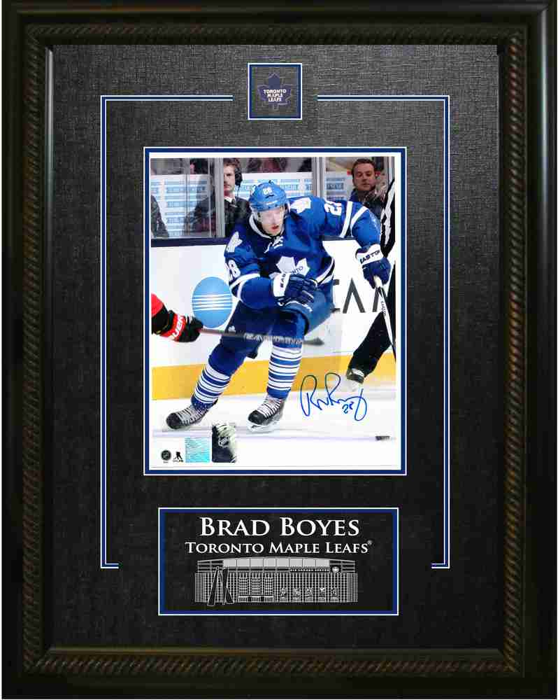 Brad Boyes - Signed & Framed 8x10 Etched Mat - Toronto Maple Leafs Blue Action
