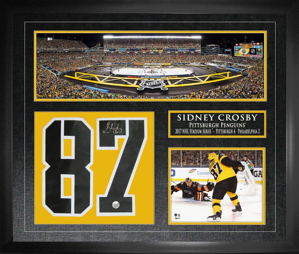 Sidney Crosby - Signed & Framed Jersey Number Collage - 2017 Stadium Series Unique Autographed Collectible