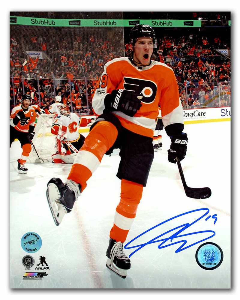 Nolan Patrick Philadelphia Flyers Autographed Goal Celebration 8x10 Photo