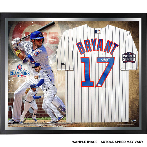Photo of Kris Bryant Chicago Cubs 2016 MLB World Series Champions Framed Autographed Majestic White Replica World Series Jersey Collage