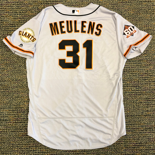 Photo of San Francisco Giants - 2018 Opening Day Game-Used Road Jersey - Worn by #31 Hensley Meulens on 3/29/2018 vs. the Los Angeles Dodgers - Jersey Size 50