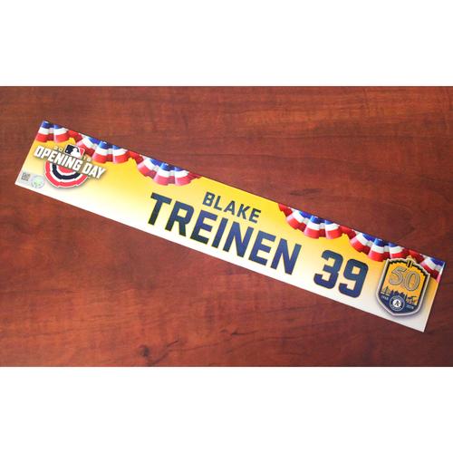 Photo of Blake Treinen Game-Used Opening Day 2018 Locker Nameplate