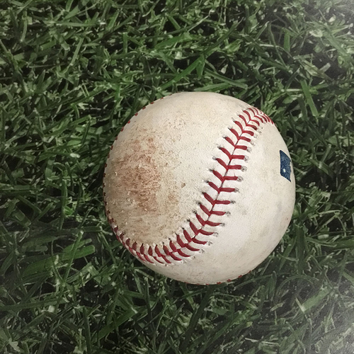 Photo of Game-Used Baseball CLE@MIL  05/09/18 - Junior Guerra - Michael Brantley: RBI Single