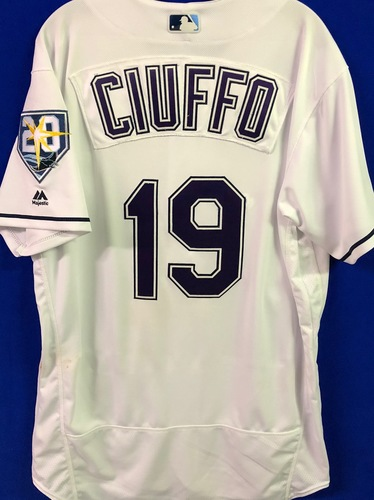 Photo of 20th Anniversary Game Used Devil Rays Jersey: Nick Ciuffo (H) - September 8 v BAL