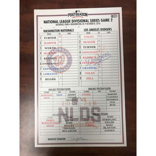 Photo of Replica Lineup Card - 2016 NLDS Game 2