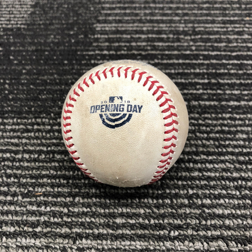 Photo of 2018 Game Used Opening Day Baseball used on 4/3 vs. Seattle Mariners - B-7: Nick Vincent to Hunter Pence - Fly Out to LF