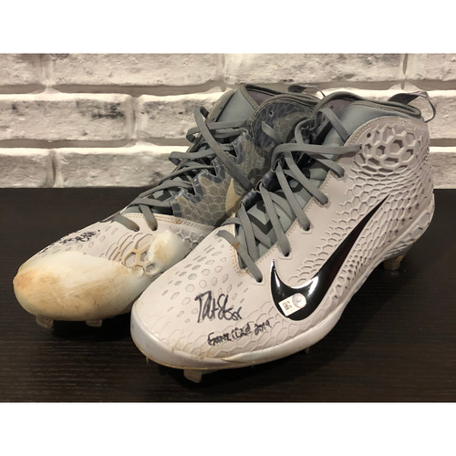 "Photo of Robert Stephenson -- *Autographed* Zoom Force Trout 5 Pair of Cleats -- Inscribed as Game Used 2019"" -- Size: 12"