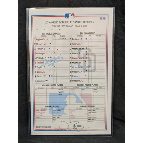 Photo of Game-Used Lineup Card August 3rd 2020 Dodgers v Padres