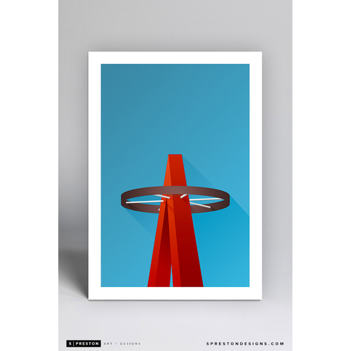 Photo of Angel Stadium Big Halo - Minimalist Ballpark Art Print by S. Preston - Los Angeles Angels