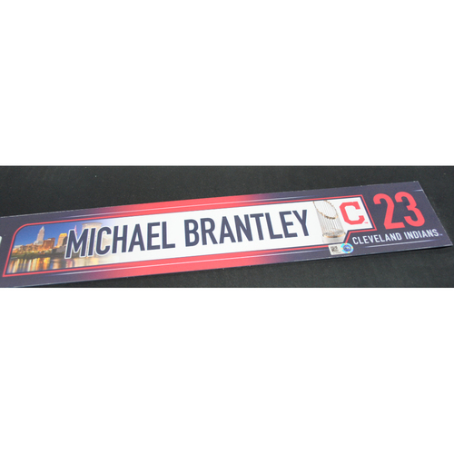 Photo of Game-Used Locker Name Plate - 2016 World Series Games 1, 2, 6, 7 - Cleveland Indians vs. Chicago Cubs - Michael Brantley (Cleveland Indians)