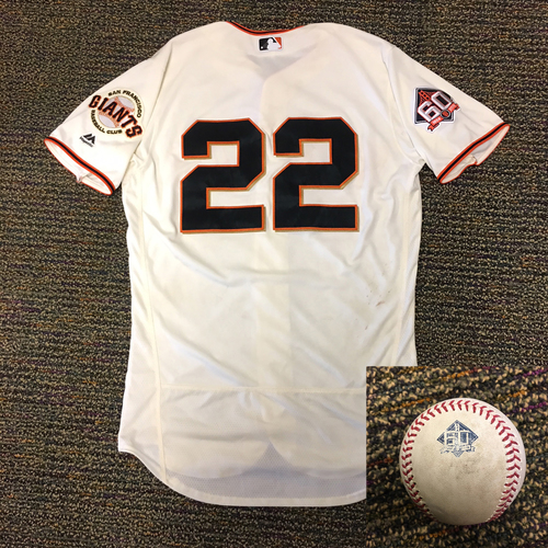 Photo of 2018 San Francisco Giants - WALK-OFF JERSEY AND BALL - Game Used Jersey worn by #22 Andrew McCutchen for TWO WALK OFF HITS on 4/10/2018 and 4/7/18 when he record 6 hits, including a game winning walk off HR to beat the Los Angeles Dodgers