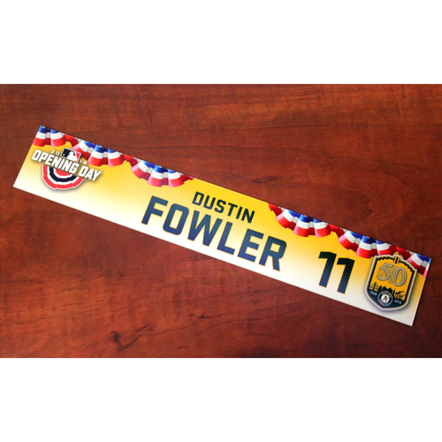 Photo of Dustin Fowler Team-Issued Opening Day 2018 Locker Nameplate