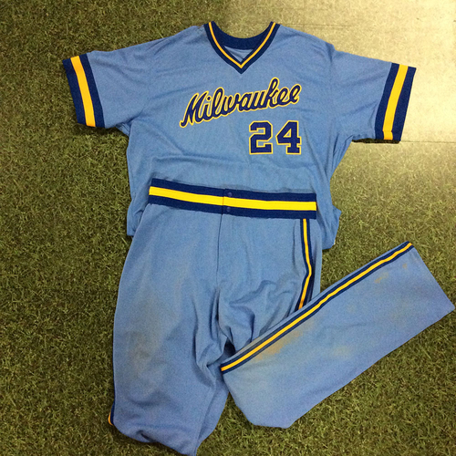 Photo of Jesus Aguilar 1983 Throwback Uniform (Game-Used Jersey & Team-Issued Pants)