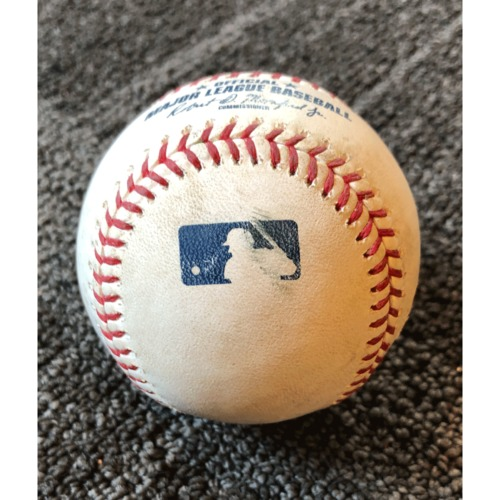 Photo of 2019 Game Used Baseball - San Francisco Giants vs. New York Yankees - 4/26/19 - T-9: Mark Melancon to Mike Ford - Single to 3rd Base - Career Hit #4