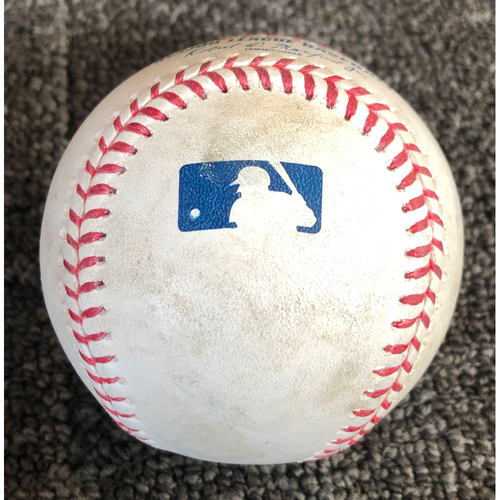 Photo of 2019 Game-Used Baseball used on 4/12/19 vs. Colorado Rockies - B-5: Chad Bettis to Kevin Pillar - Single to Center Field