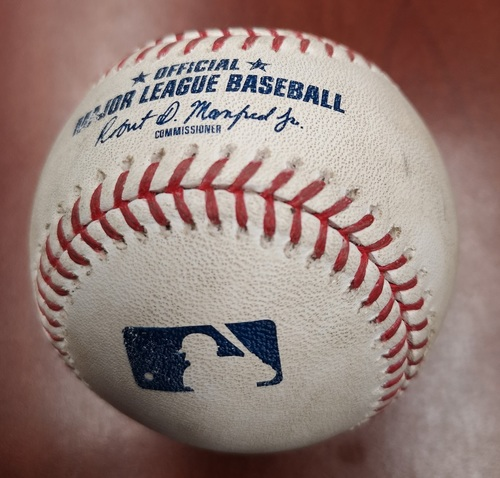 Photo of Authenticated Game Used Baseball - RBI Single by Mike Trout against David Phelps. (June 19, 2019 vs LAA). Top 9. Trout set a career high with his 7th RBI of the game using this ball.