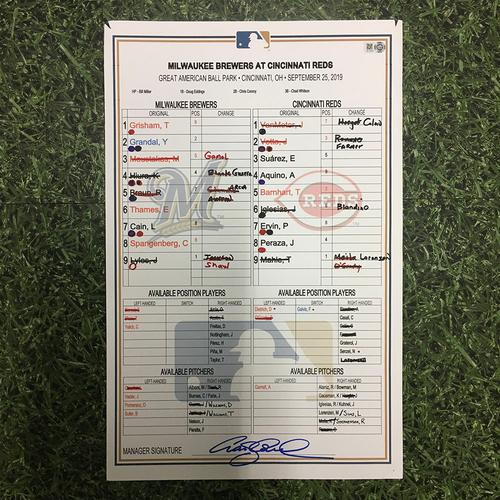 Photo of MIL @ CIN 09/25/19 Game-Used Lineup Card - Ryan Braun Grand Slam; Brewers Clinch Postseason Berth