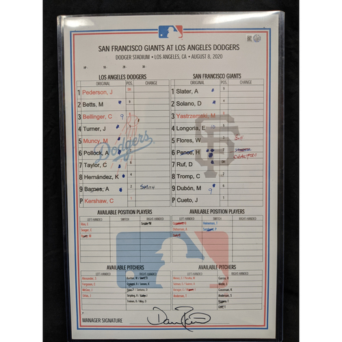 Photo of Game-Used Lineup Card August 8th 2020 Dodgers v Giants